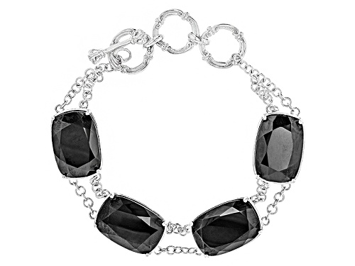 Photo of 78.12ctw Rectangular Cushion Black Spinel Sterling Silver 4-Stone Toggle Bracelet - Size 7.25