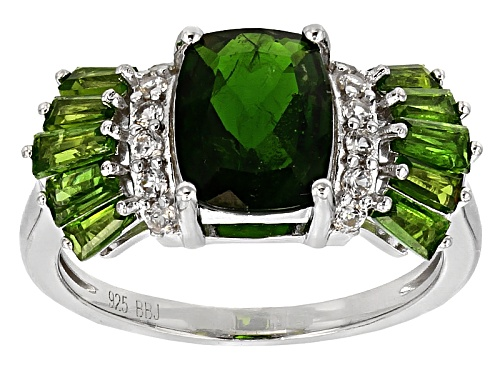 Photo of 1.78ct Rectangular Cushion And .88ctw Baguette Chrome Diopside With .24ctw White Zircon Silver Ring - Size 5