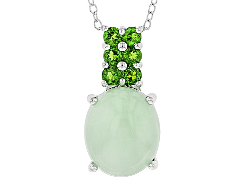 Photo of 12x10mm Oval Green Opal With .42ctw Round Russian Chrome Diopside Silver Pendant With Chain