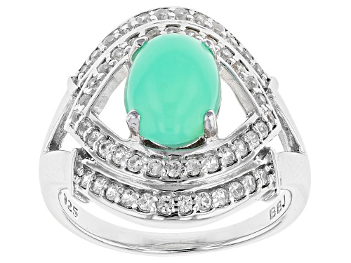 Photo of 9X7MM OVAL GREEN OPAL WITH .40CTW ROUND WHITE ZIRCON RHODIUM OVER STERLING SILVER RING - Size 6
