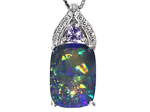 Photo of 14x10mm Australian Opal Triplet, .30ctw Tanzanite & White Zircon Rhodium Over Silver Slide W/Chain