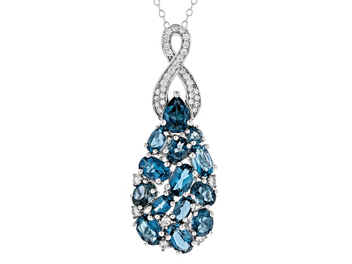 Photo of 5.59ctw Mixed Shape London Blue Topaz With .54ctw Round White Zircon Silver Pendant With Chain
