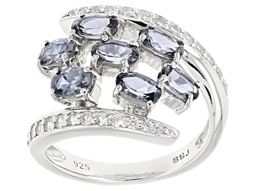 Photo of 1.48ctw Platinum Color Spinel With .30ctw Round White Zircon Sterling Silver Open Work Bypass Ring - Size 7