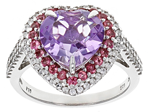 Photo of 2.75ct Lavender Amethyst With .26ctw Pink Tourmaline And .41ctw White Zircon Silver Heart Ring - Size 7