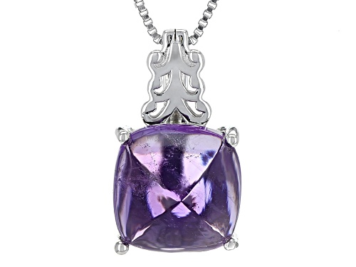 Photo of 4.40ct Square Cushion Sugarloaf Cut African Amethyst Sterling Silver Pendant With Chain