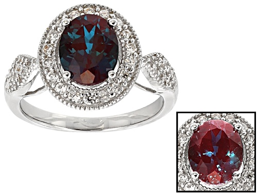 Photo of 1.82ct Oval Lab Created Alexandrite With .73ctw Round White Zircon Sterling Silver Ring - Size 11