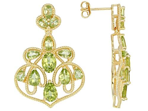 Photo of 6.95ctw Pear Shape & Oval Manchurian Peridot(TM) 18k Yellow Gold Over Silver Chandelier Earrings