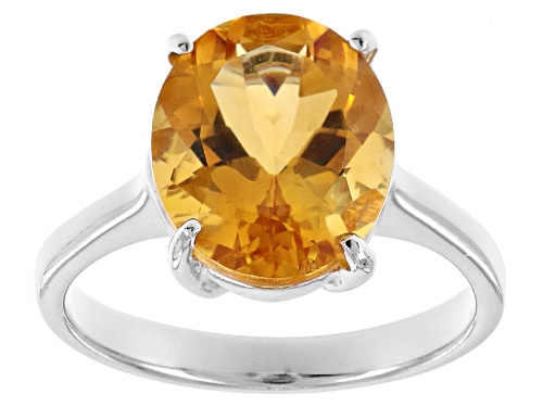Photo of 3.74ct Oval Brazilian Citrine Sterling Silver Solitaire Ring - Size 11
