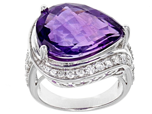 Photo of 9.77CT PEAR SHAPE CHECKERBOARD CUT AFRICAN AMETHYST WITH 1.37CTW WHITE ZIRCON STERLING SILVER RING - Size 7