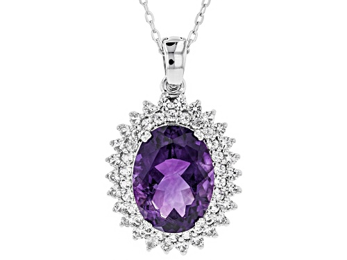 Photo of 7.21ct Oval Moroccan Amethyst With 1.48ctw White Topaz Silver Enhancer With Adjustable Chain