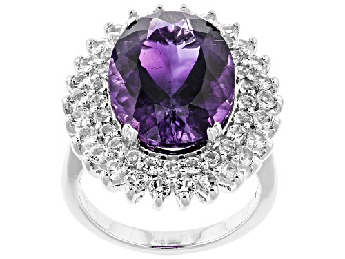 Photo of 7.21ct Oval Moroccan Amethyst With 1.48ctw Round White Topaz Sterling Silver Ring - Size 7