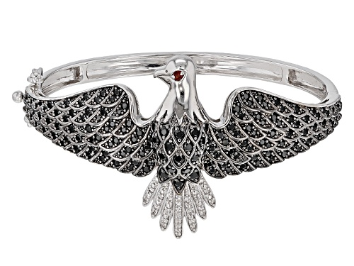 Photo of 3.36ctw Black Spinel, .03ct Vermelho Garnet™And .34ctw White Zircon Silver Eagle Bangle Bracelet - Size 8