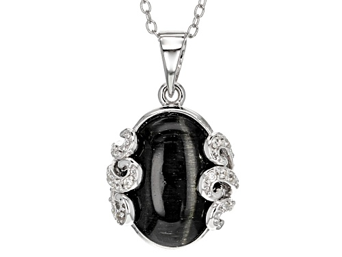 Photo of 14x10mm Oval Black Cat's Eye Sillimanite And .11ctw Round White Zircon Silver Pendant With Chain