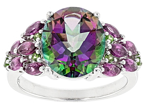 Photo of 5.39ct Oval Multicolor Mystic Topaz® With 1.00ctw Chrome Diopside And .09ctw Rhodolite Silver Ring - Size 7