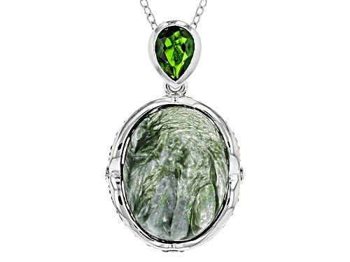 Photo of 18x13mm Seraphinite, .59ct Russian Chrome Diopside And .51ctw Black Spinel Silver Pendant With Chain