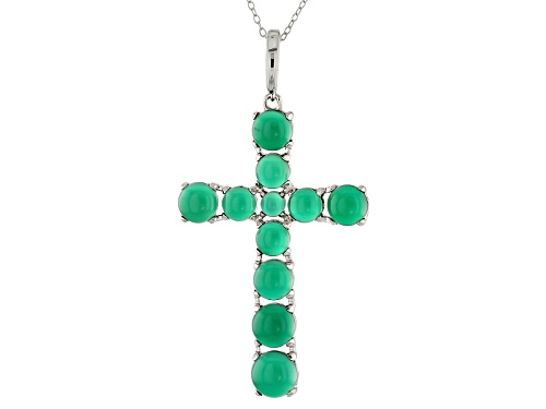Photo of 4mm-7.5mm Round Green Onyx Sterling Silver Cross Enhancer With Chain
