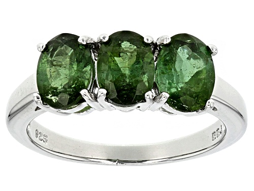 Photo of 2.01ctw Oval Brazilian Green Tourmaline Sterling Silver 3-Stone Ring - Size 7