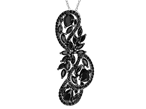 Photo of 4.39ctw Marquise And Round Black Spinel Sterling Silver Pendant With Chain