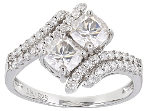Photo of MOISSANITE FIRE(R) 1.58CTW DEW CUSHION CUT AND ROUND PLATINEVE(R) RING - Size 10