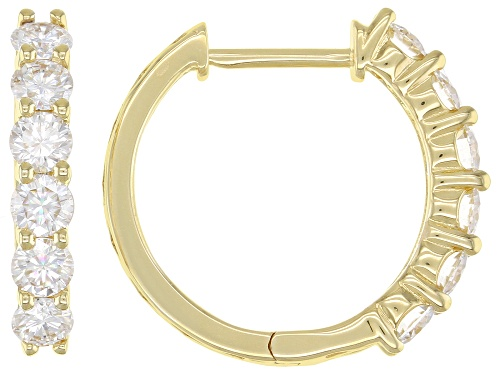 MOISSANITE FIRE® 1.56CTW DIAMOND EQUIVALENT WEIGHT ROUND 14K YELLOW GOLD OVER SILVER HOOP EARRINGS