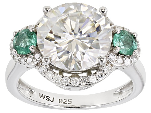 Photo of MOISSANITE FIRE(R) 5.13CTW DEW AND ZAMBIAN EMERALD PLATINEVE(R) RING - Size 7