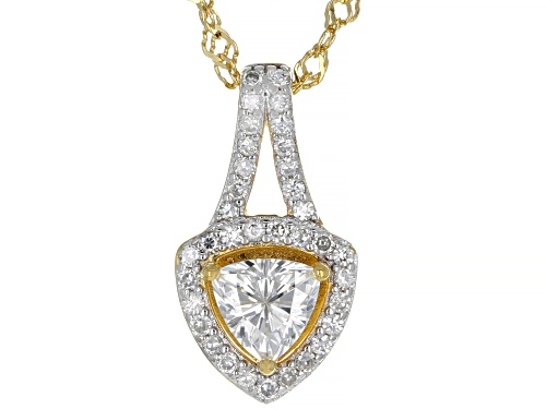 Photo of MOISSANITE FIRE(R) 1.05CTW DEW 14K YELLOW GOLD OVER SILVER PENDANT AND SINGAPORE CHAIN