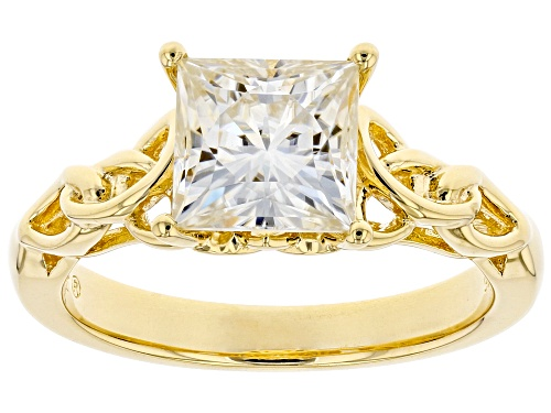 Photo of MOISSANITE FIRE(R) 2.10CT DEW SQUARE BRILLAINT 14K YELLOW GOLD OVER SILVER RING - Size 9