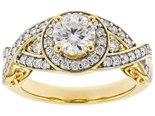 Photo of MOISSANITE FIRE(R) 1.36CTW DEW ROUND 14K YELLOW GOLD OVER SILVER RING - Size 8