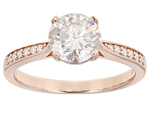 Photo of MOISSANITE FIRE(R) 1.64CTW DEW ROUND 14K ROSE GOLD OVER STERLING SILVER RING - Size 11