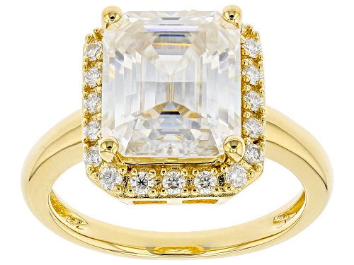 Photo of MOISSANITE FIRE(R) 5.33CTW DEW OCTAGONAL EMERALD CUT AND ROUND 14K YELLOW GOLD OVER SILVER RING - Size 10