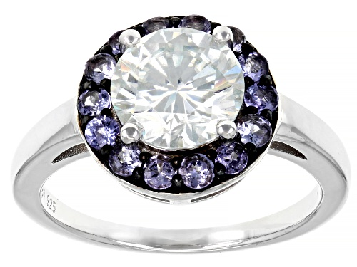 Photo of MOISSANITE FIRE(R) 1.90CT DEW AND TANZANITE PLATINEVE(R) RING - Size 8