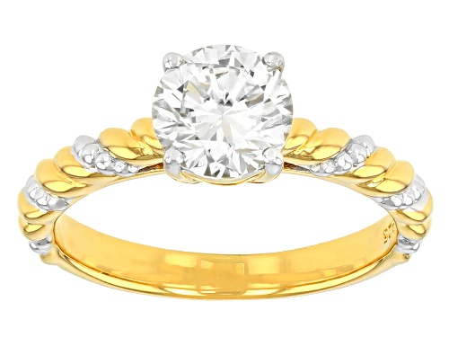 Photo of MOISSANITE FIRE(R) 1.20CT DEW ROUND 14K YELLOW GOLD AND WHITE RHODIUM OVER SILVER RING - Size 6