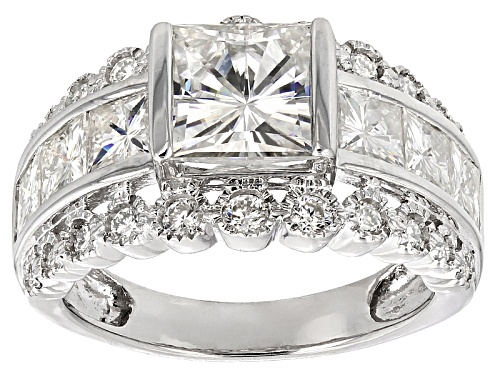 Photo of Moissanite Fire® 5.68ctw Diamond Equivalent Weight Square Brilliant And Round Platineve™ Ring - Size 8