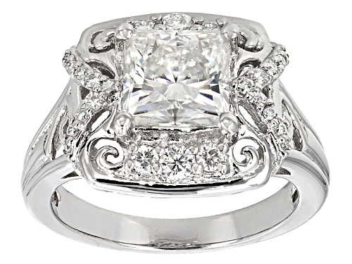 Photo of Moissanite Fire® 2.92ctw Dew Square Brilliant Cut And Round Platineve™ Ring - Size 8