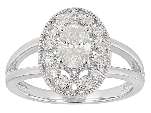 Photo of Moissanite Fire® 1.02ctw Dew Oval Cut And Round Platineve™ Ring - Size 11