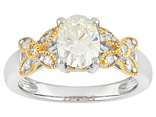 Photo of Moissanite Fire® 1.62ctw Dew Platineve™ And 14k Yellow Gold Accent Over Platineve™ Ring - Size 8