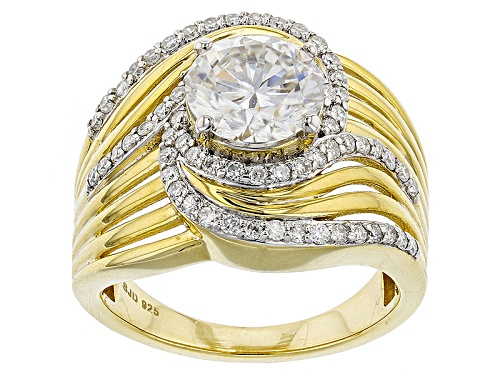 Photo of Moissanite Fire® 2.56ctw Dew Round 14k Yellow Gold Over Silver Ring - Size 6