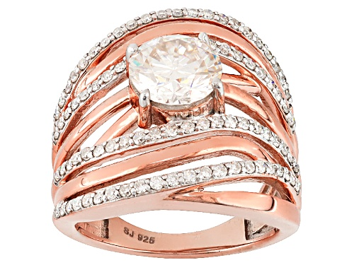 Photo of Moissanite Fire® 2.78ctw Dew Round 14k Rose Gold Over Silver Ring - Size 6