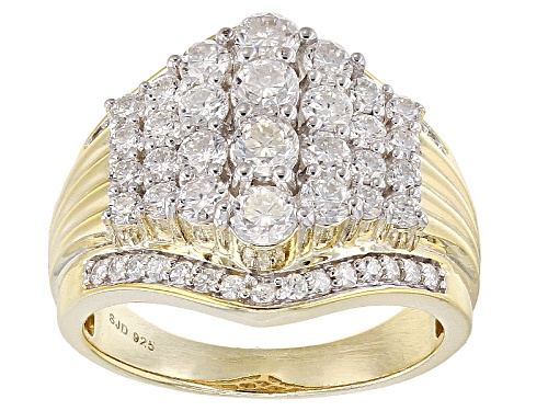 Moissanite Fire® 1.78ctw Dew Round 14k Yellow Gold Over Silver Ring - Size 6