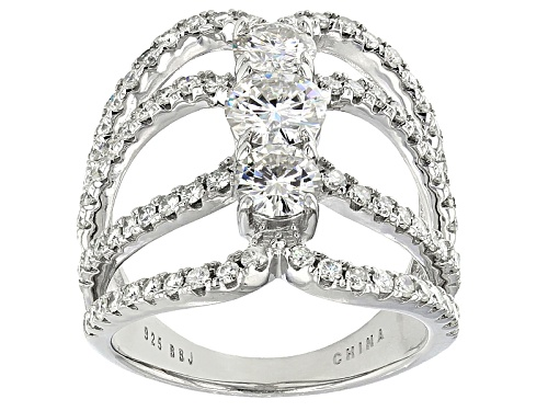 Photo of Moissanite Fire® 3.32ctw Diamond Equivalent Weight Round Platineve™ Ring - Size 6