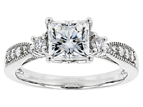 Photo of Moissanite Fire® 1.96ctw Dew Square Brilliant Cut And Round Platineve™ Ring - Size 9