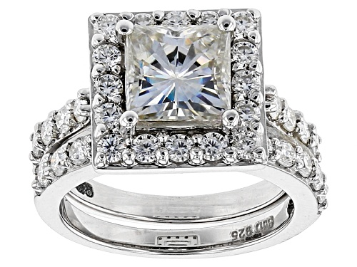 Photo of Moissanite Fire® 3.21ctw Dew Square Brilliant And Round Platineve™ Ring With Band - Size 11