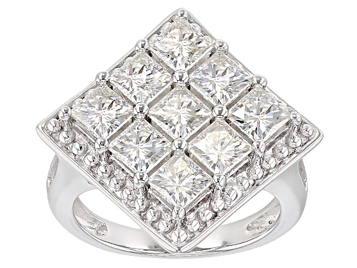 Photo of Moissanite Fire® 3.69ctw Dew Square Brilliant Platineve™ Ring - Size 7