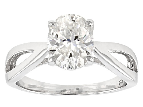 Photo of Moissanite Fire® 2.10ctw Diamond Equivalent Weight Oval Platineve™ Ring - Size 11