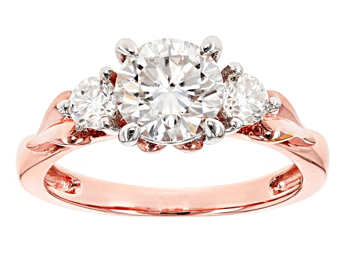 Photo of Moissanite Fire® 1.52ctw Diamond Equivalent Weight Round 14k Rose Over Sterling Silver Ring - Size 10