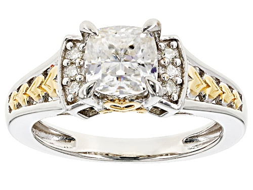 Photo of Moissanite Fire® 1.36ctw Dew Platineve™ And 14k Yellow Gold Accent Two Tone Ring - Size 6
