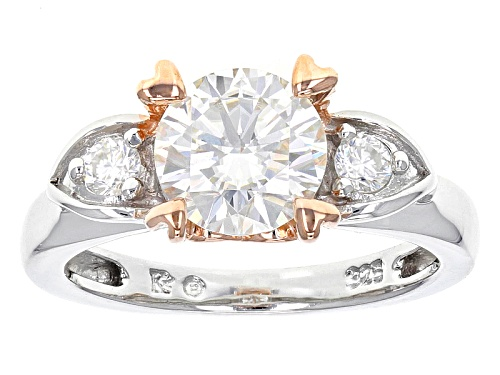 Photo of Moissanite Fire® 1.32ctw Dew Platineve™ And 14k Rose Gold Accent Over Platineve Ring - Size 8