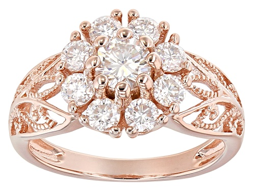 Photo of Moissanite Fire® 1.30ctw Dew Round 14k Rose Gold Over Silver Ring - Size 6