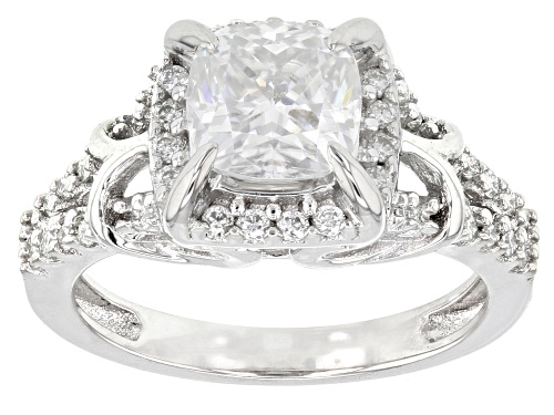 Photo of Moissanite Fire® 2.10ctw Diamond Equivalent Weight Square Cushion Cut And Round Platineve™ Ring - Size 11