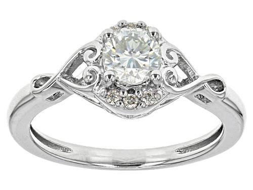 Photo of Moissanite Fire® .56ctw Diamond Equivalent Weight Round Platineve™ Ring - Size 6